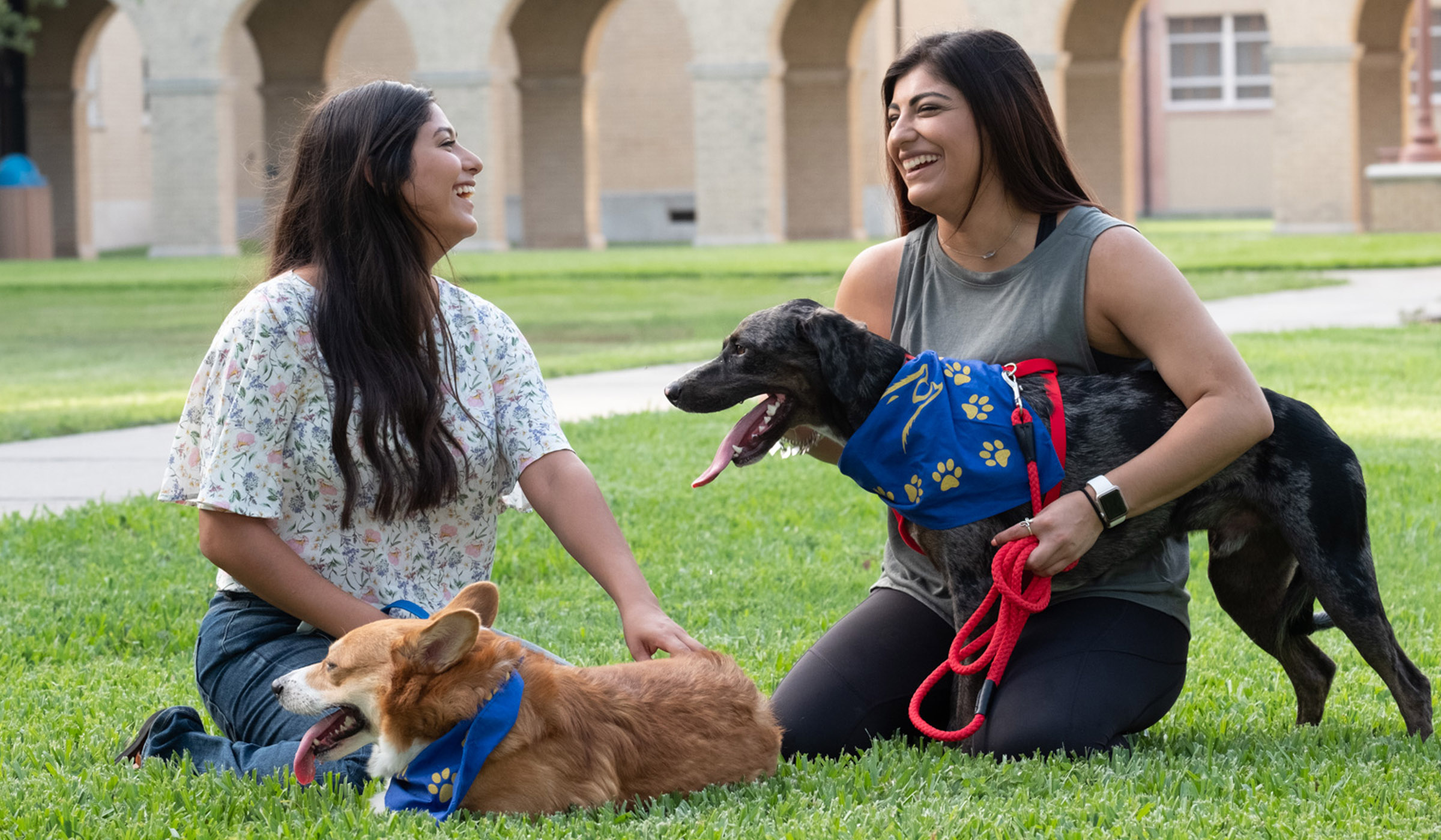 Two students with their dogs laughing