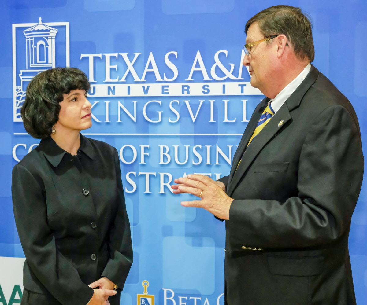 Railroad Commissioner Christi Craddick, left, chats with Dr. Mark Hussey, president of Texas A&M University-Kingsville