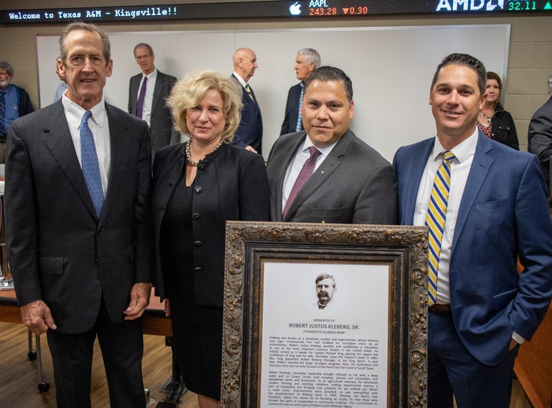 Shown from left, are Stewart L. Armstrong, chairman of the Kleberg Bank Board of Directors; Dr. Natalya Delcoure, dean of the College of Business Administration; Gabe Guerra, president and chief executive officer of Kleberg Bank; and Brad Womack, Kingsville Market President and Chief Operating Officer for Kleberg Bank.