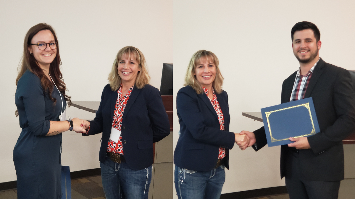 Pictured Left: Shae Diehl accepts her awards from Dr. Michelle Garcia, President of the Subtropical Agriculture and Environments Society. Pictured Right: Alvaro Garcia receives his award from Dr. Michelle Garcia, President of the Subtropical Agriculture and Environments Society.