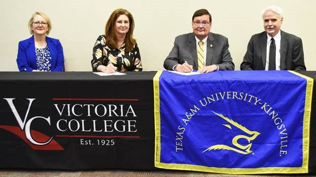 Representatives of Victoria College and Texas A&M University-Kingsville pose during the May 17 signing of a memorandum of agreement for joint admission for students pursuing engineering degrees. Pictured from left are Cindy Buchholz, VC executive vice president and chief academic officer; Dr. Jennifer Kent, Victoria College president; Dr. Mark Hussey, Texas A&M-Kingsville president; and Dr. Lou Reinisch, Texas A&M-Kingsville provost and vice president for academic affairs.