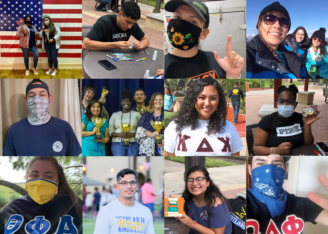 Collage of various students showing their support for TAMUK